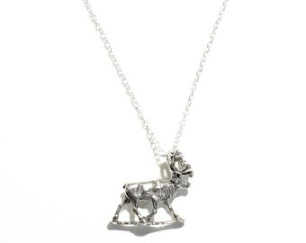 Sterling Silver Stag Moose Caribou Necklace