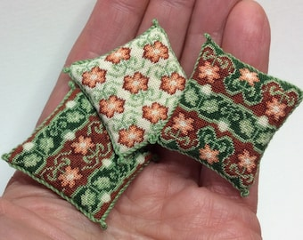 3 matching Tudor style miniature pillows