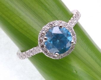 New 14k white gold Blue Diamond Halo Engagement Ring 2.30 carat Handmade