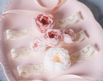 Fabric Flower Baby Headband Set of 3, Lace Newborn Photo Prop, Flowergirl Hairpiece, Baby Hairbow, Baby crown, Newborn Baby Floral Crown