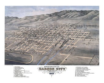 "Beautifully Restored ""Birds Eye View"" Map Of Carson City Nevada, 1875, Print. (Historical Maps, Antique Reprint, Wall Decor)"