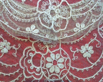 19th Fabulous Antique Embroidered Tulle French Collar. Very Large Vintage Fine Handmade Fashion from France. Marvellous  for a Wedding Dress
