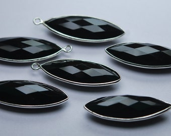 925 Sterling Silver BLACK ONYX Faceted Marquise Shape Pendant,2 Piece of 33mm