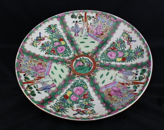 Vintage-Chinese Porcelain-Canton Familee Rose Medallion-Charger Bowl