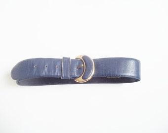 Vintage 1980s Liz Claiborne Blue Leather Belt / Half Moon Crescent