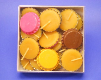 Beeswax Candles, Box of 25 Bottle Cap Candles, 100% Pure Beeswax, Home Decor Candles, Beer Cap Candles, Special Occasion Lighting
