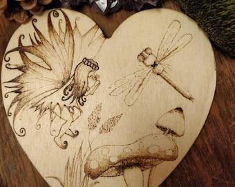 Garden fairy dragonfly scene. Pyrography, art, valentine's, wedding, birthday, gift