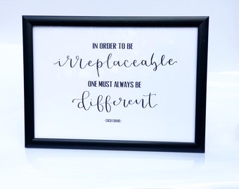 Coco Chanel Quote Made To Order in Black A4 Frame