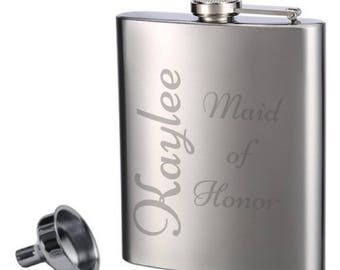 Etched Flasks | Bridesmaid Gift | Stainless Steel | Bachelorette Party | Bridal |  | Maid of Honor |  Personalized Gift | Liquor Flask