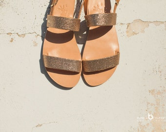 aelia/ greek sandals/two straps/sparkle sandals pink gold/handmade/aposrasy collection/