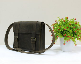 Women Mini Messenger Leather Briefcase Leather iPad Bag Handmade Briefcase Leather Tablet Bag iPad Crossbody iPad Cross Body Messenger Bag