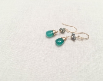 Kiss Me I'm 14k Irish: 14k Gold Filled Green Onyx and Pyrite Wire Wrapped Earrings Raw Rough Gold Pyrite