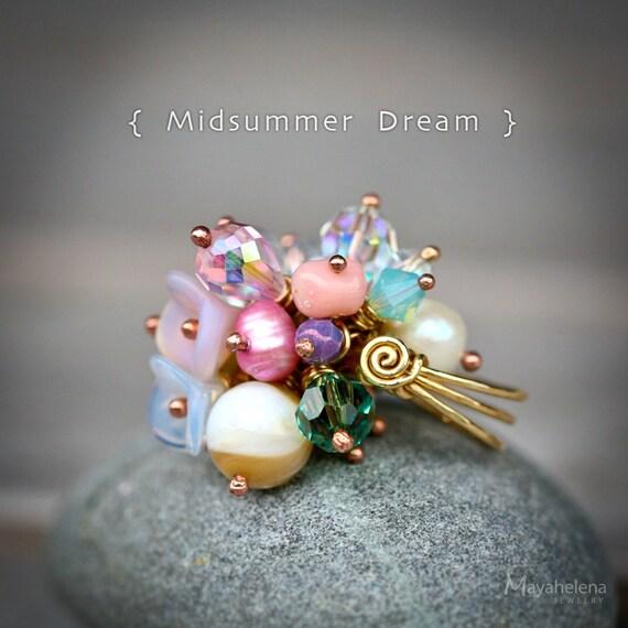 Midsummer Dream - Cluster Brass Cocktail Ring