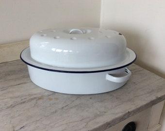 1950s Blue & White Enamel Casserole Dish
