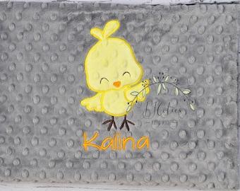 Baby Blanket Personalized chick-tweetie bird Baby Minky Blanket-Girl tweetie Blanket-Personalized Baby Blanket Girl-Chick Minky Baby Blanket