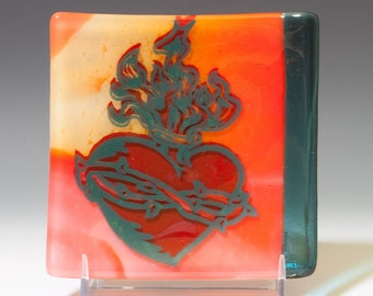 Sacred Heart, Fused Glass, Catch-all Dish, Tattoo Design, Green and Red