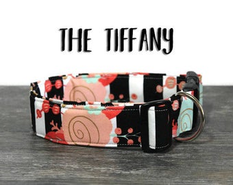 Rose Dog Collar, Beautiful Floral Collar, Collar for Girl Dog, Feminine Dog Collar, Striped Dog Collar, Classy Pet Collar, Custom Collar