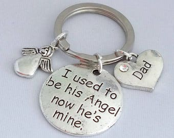 "I used to be HIS Angel now HE'S mine"" pendant on keepsake key ring."