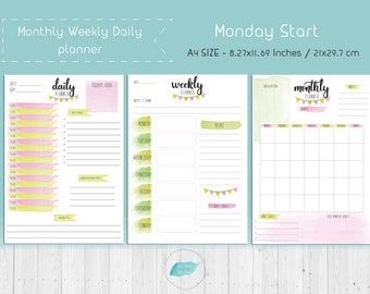 Digital Bullet Journal, Ultimate Planner, A5 Inserts, Daily Weekly Monthly Planner,Printable PDF Planner, MON Start, Instant Download