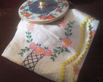 Vintage  Embroidered Linen and Daher Tin
