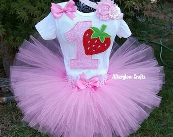 Strawberry Tutu Set, Strawberry  Birthday Outfit, Strawberry Tutu Outfit, Pink Strawberry Tutu, Pink Strawberry Birthday Outfit, Baby Tutu