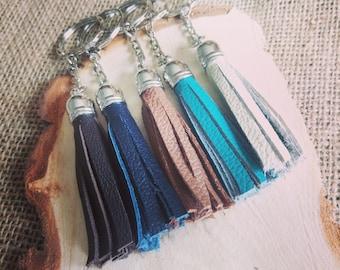 Handmade real leather tassel style keyrings - 6 colours available!! - tassel / accessories / handbag / keys