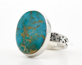 Turquoise Ring, Blue Gem Turquoise, Battle Mountain Turquoise, Sterling Silver, Handmade Ring, Made In USA, Turquoise Jewelry, Southwestern