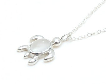 Moonstone turtle necklace in sterling silver