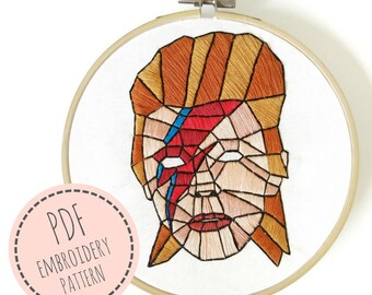 Embroidery Pattern-David Bowie-PDF Embroidery Pattern- PDF Digital Download- Embroidery design-Embroidery Pattern-Embroidery David Bowie