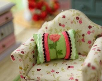 Single Rose Bunch Dollhouse Miniature Pillow