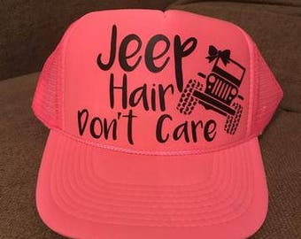 "Hot Pink ""Jeep Hair Don't Care"" Trucker Hat"