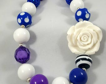 BUBBLEGUM CHILDREN'S NECKLACE ~ Chunky Acrylic Bubblegum Beads - Bright Blue, Purple, & White