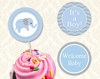 Blaue und graue Elefantenbaby Shower Cupcake Toppers Printable – seiner A Boy Elephant Babyaufkleber, jungen Dusche Geschenk Tags-sofort-Download