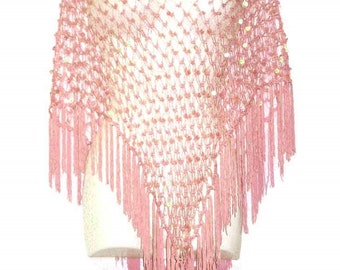 Vintage Women's Crocheted Poncho with Sequins