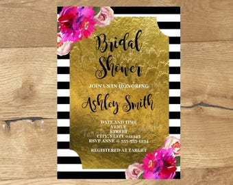 Bridal Shower Invitation, Black and White Invitations, Kate Spade Inspired Bridal Shower, Printable Bridal Shower Invitation, Black and Gold