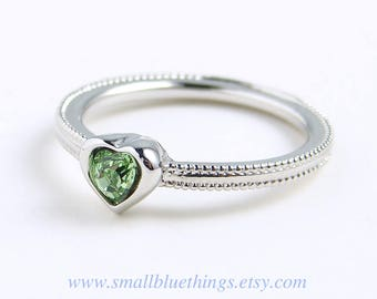Heart Ring ~ Small Peridot Heart Ring ~ August Birthday ~ Swarovski Heart Ring ~ Dainty Ring ~ Pinky Ring ~ Valentine's Day ~ Gift for Her
