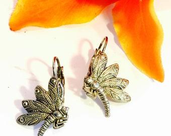Beautiful Sterling Silver Dragonfly Vintage Earrings