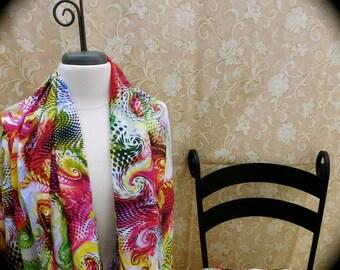 Digital printed Silk blend fabric, foral silk fabric, digital printed fabric, Scroll printed fabric, light weight fabric, scarf making