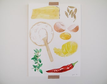 ORIGINAL Food Illustration Various Ingredients with Chili Thyme Butter Fennel and Pecorino A4