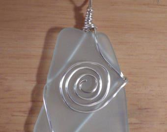 Created Sea Glass Large Pendant, Seafoam Green, Beachy Swirl Ocean Theme