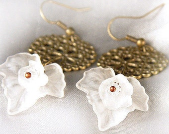 Bohemian Jewelry Big White Frosted Grape Leaf with Tiny Flower Earrings Antique Bronze Bridal Earrings. Hollow Circle Bubbles