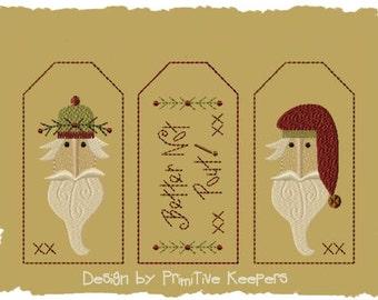 Better Not Pout-3 Tag Designs-Primitive Machine Embroidery-5x7-Version 1-INSTANT DOWNLOAD