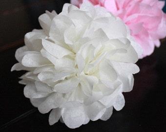 Mini Tissue Pom Pom set  5 poms - choose your colors - Napkin ring - favor topper - gift tag decoration- vase filler