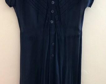 Dark Royal Blue Sheer 1940s Dress