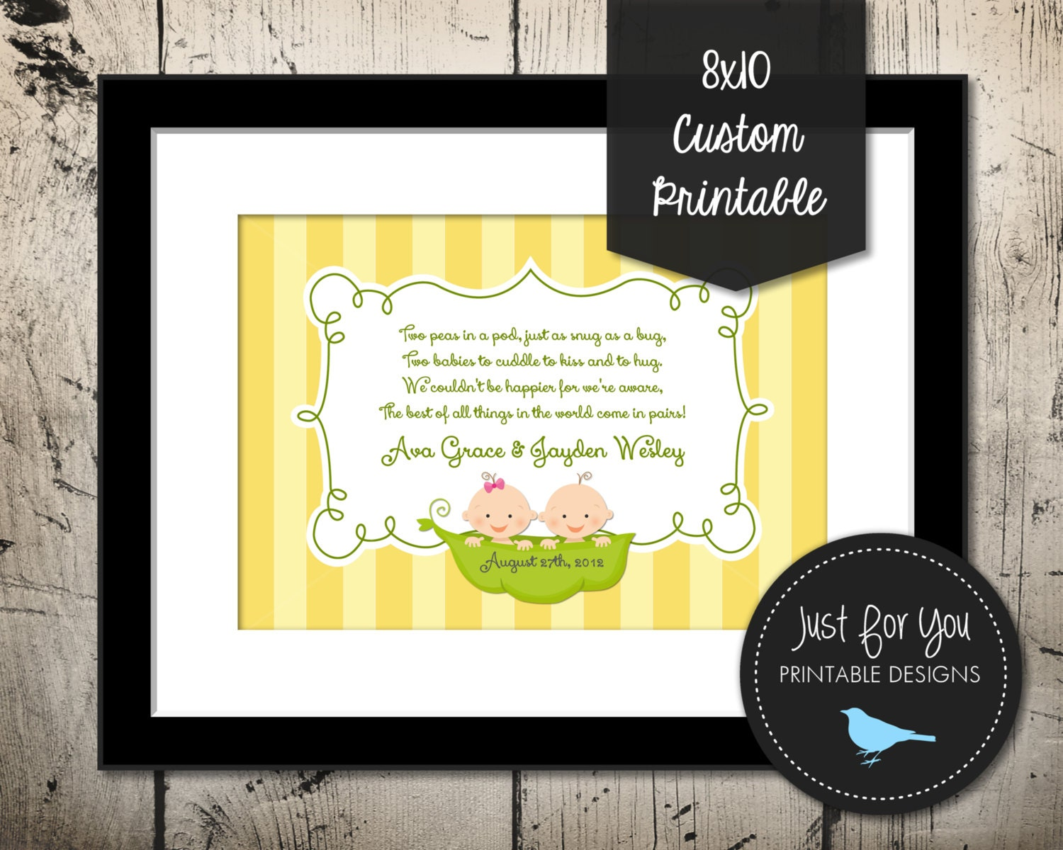 Two Peas In A Pod Printable - Table Centerpiece and Nursery Wall Art ...