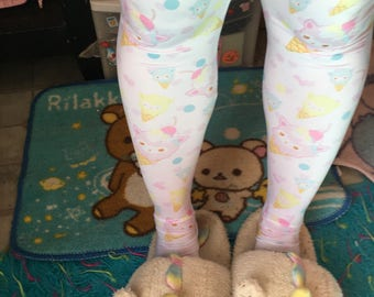 Alpaca Ice Cream Cone Leggings Tights, Alpaca Tights, Rainbow Tights, Cute Tights