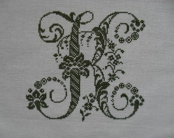 "Alphabet Monogram Cross Stitch Antique Letter ""K""  Handmade Finished"