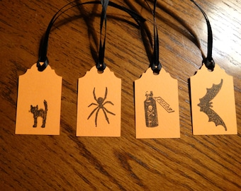 SET of 4 small Halloween Hang Tags-Mixed Lot -Orange or Red