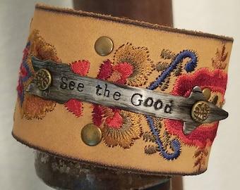 Handmade leather cuff