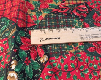 """Christmas Fabric Joan Messmore for Cranston Print Works Patchwork Look Holiday Fabric Holly Poinsettias Plaid and Ribbons 50"""" x 44"""" Cotton"""